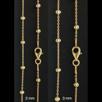 Italy Moon-cut Ball & Cable Chain Necklace-gold Vermeil-diamond Cut-2 Mm/3mm