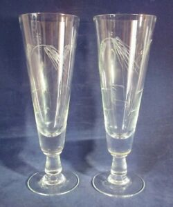 Vintage Sasaki Noritake Wheat Pattern Pilsner Beer Glasses Small Sz One Pair EUC