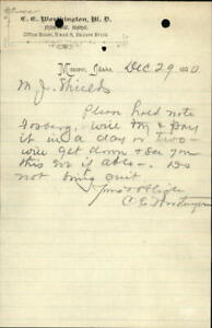 1890 Moscow Idaho (ID) Letter C.G. Worthington,M.D. A reply to a Collection Lett