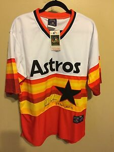 super popular a8fe2 a8c6a Details about NOLAN RYAN signed jersey Houston Astros rainbow w/ Ryan  hologram