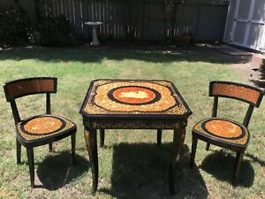 NOTTURNO-INTARSIO-Inlaid-Italian-Wood-Convertible-Game-Table-with-2-Chairs