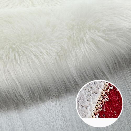 Soft Sheepskin Plain Fluffy Skin Fake Faux Rug Washable Sofa Mat Rugs CA