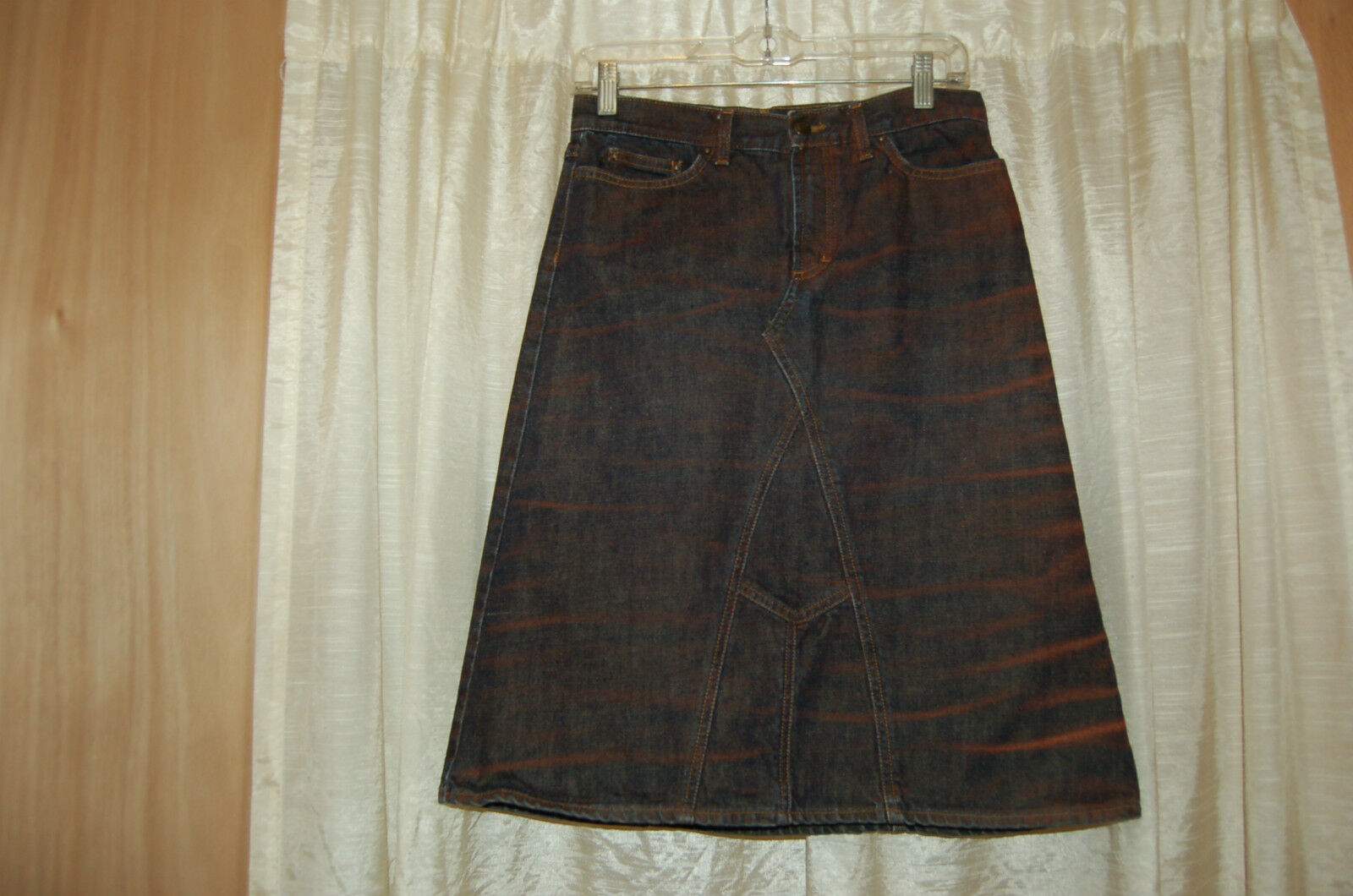 Just Cavalli Distressed bluee Red colors Jean Skirt Size 40 Made in   Great