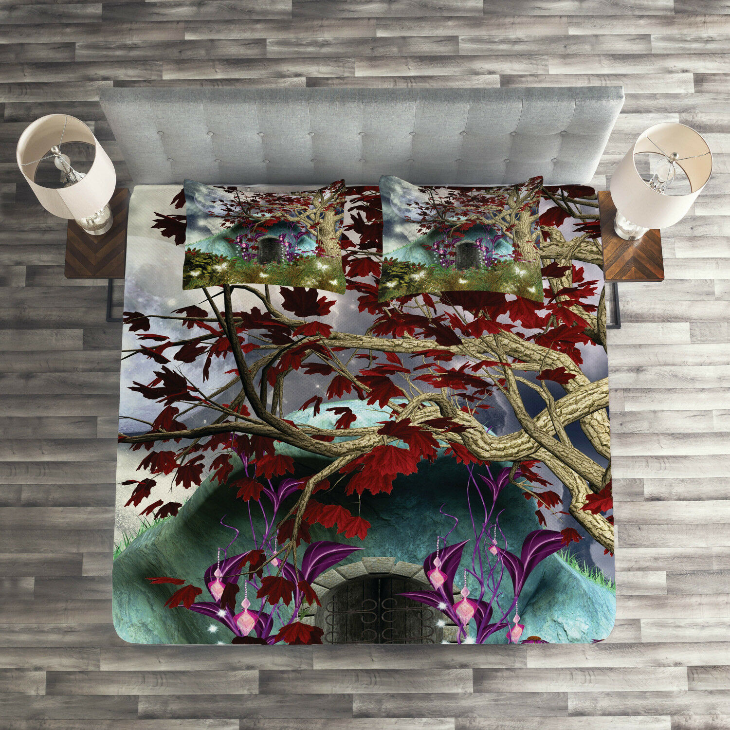 Digital Quilted Coverlet & Pillow Shams Set, Wood Door in Forest Print