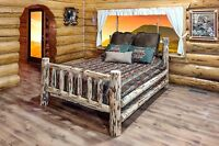 Amish Log Beds Ca King Log Cabin Bed Handmade Rustic Lodge Solid Pine Rustic