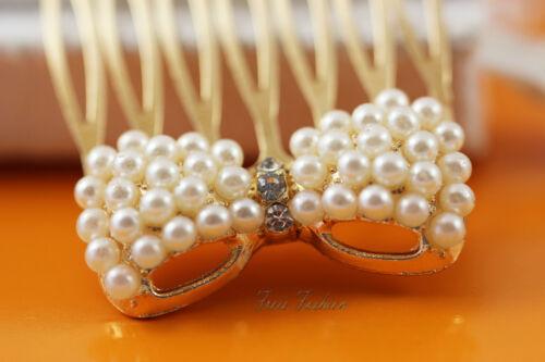 Haarschmuck Haarkamm Haircomb Perlen Strass gold A700