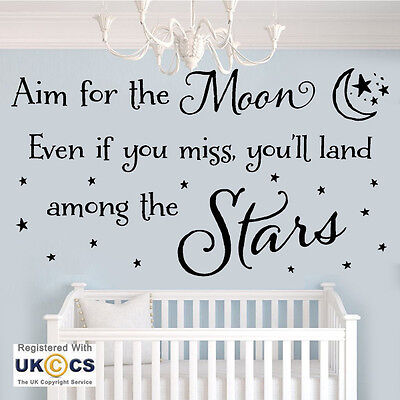 Aim For The Moon Stars Nursery Wall Art Stickers Decals Vinyl Decor Home Quote