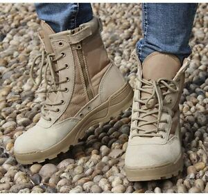 Mens-Military-Tactical-Ankle-Boots-Leather-Combat-Work-Shoes-SWAT-Lace-Up-Black