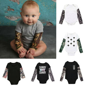 Newborn Baby Girl Boy Romper Jumpsuits Bodysuit Tops Clothes Tattoo Long Sleeve