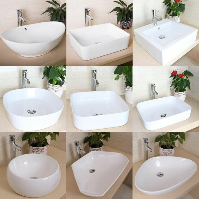 Bathroom Ceramic Vessel Sink Art Basin Bowl Porcelain Vanity Modern White