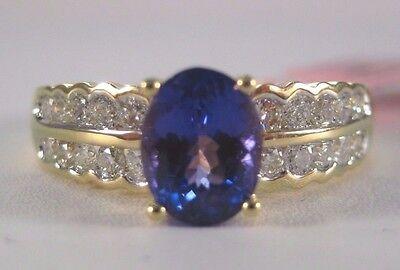 18KY 1.4 Carat AAA (3A) Tanzanite & Diamond Ring