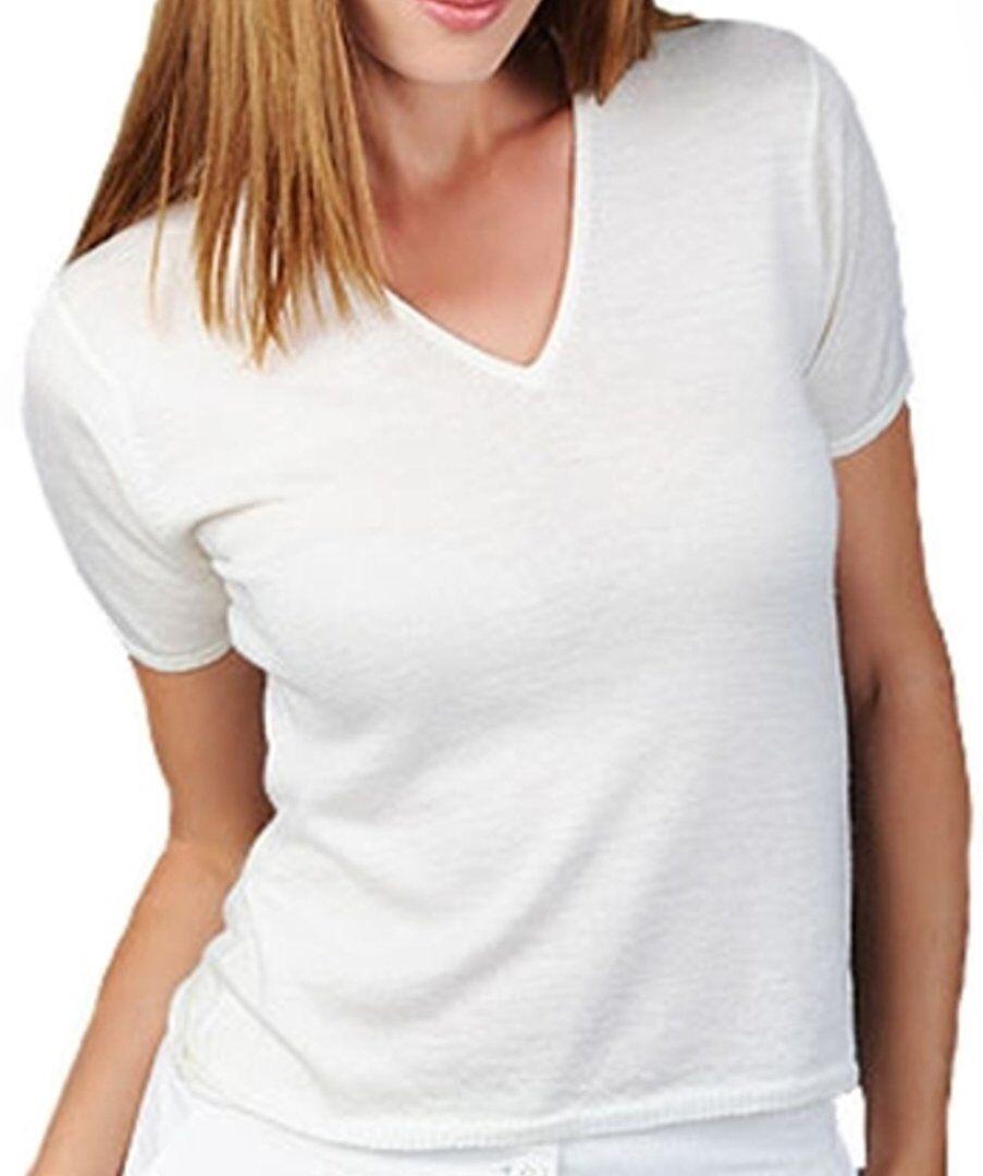 Balldiri 100% Cashmere Damen V-Ausschnitt Shirt weiß S