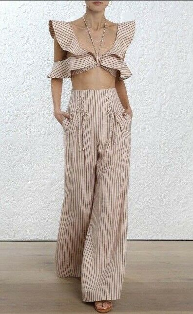 Zimmermann Painted Hear Lace Up Pant   Trousers High Waist Wide Leg  RRP