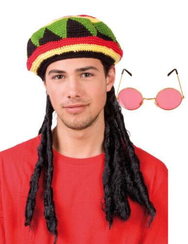 Adults Knitted Rastafarian Fancy Dress Jamaican Rasta Beanie Hat /& DreadlockHair