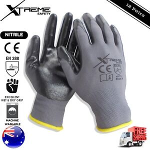 Xtreme-Safety-Gloves-Grey-Nitrile-General-Purpose-Mechanical-Work-Gloves-12-pair