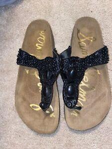 Sam Edelman Romy Women's Size 9 Leather Platform Cork Wedge Thong Sandals