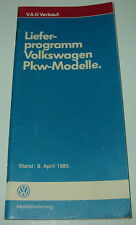 Verkaufstaschenbuch VW Polo II Golf Carat GTI GTD Passat 32B Käfer 04/1985!