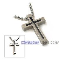 Accents Kigdom Men's Titanium Classical Open Cross Pendant Necklace