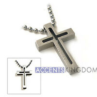 Accents Kigdom Men's Titanium Classical Open Cross Pendant Necklace