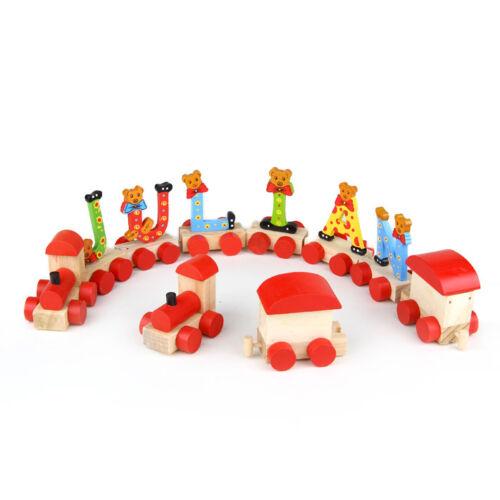 Buchstabenzug Holzzug Buchstaben Eisenbahn Geburtstagszug Holz Namen Zug ABC neu Holzspielzeug Spielzeug
