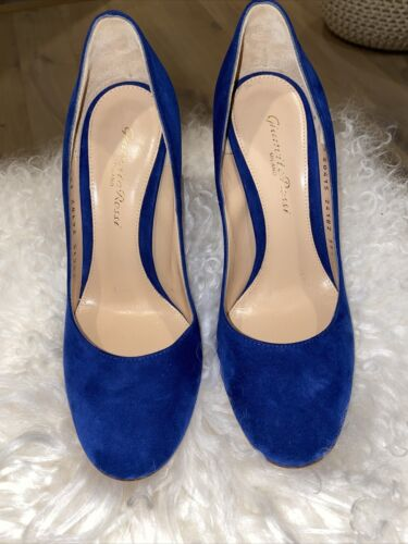 Gianvito Rossi Blue Suede Pumps Shoes Size 35.5