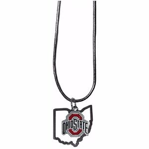 Ohio state buckeyes state shape charm w team logo chain necklace image is loading ohio state buckeyes state shape charm w team aloadofball Gallery