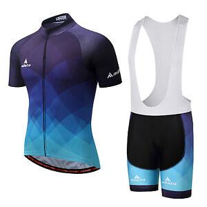 Men-039-s-Cycling-Bib-Kit-Bicycle-Cycle-Jersey-Bib-Shorts-Padded-Set-Blue-S-5XL