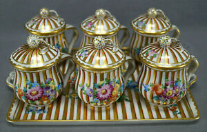 Carl-Thieme-Dresden-Hand-Painted-Floral-amp-Gold-Striped-Six-Pot-De-Creme-Tray-Set