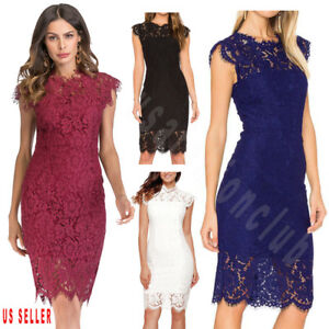 Womens-Lace-Floral-Cocktail-Party-Wedding-Evening-Party-Bridesmaid-Formal-Dress