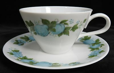 Noritake China  Cup & Saucer set BLUE ORCHARD White with Blue Fruit 1965-1977
