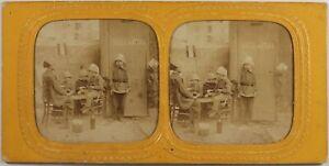 Scena Da Genere Bambini Polizia Foto Stereo Diorama Vintage Albumina c1865