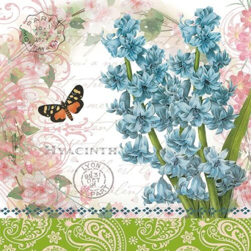 4 Lunch Paper Napkins  Party  Decoupage Craft Vintage Napkin  Hyacinth