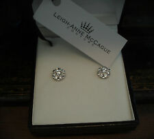 Man Made Brilliant Round Cut Diamond Cluster Stud Screw Earrings 925 Silver.
