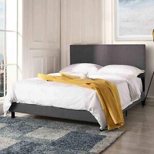 Modern Bed Frame Upholstered Headboard Platform Full Size Bed in Dark Grey