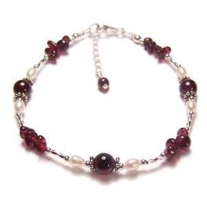 Garnet-and-pearl-Sterling-silver-bracelet-twisted-gem-stone-gemstone-red-ruby