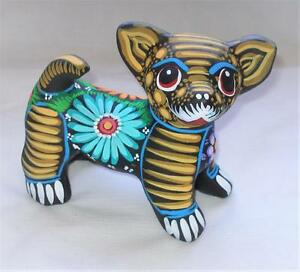 Ceramic Clay Hand-painted Chihuahua Dog Figurine Mexican Folk Art C26