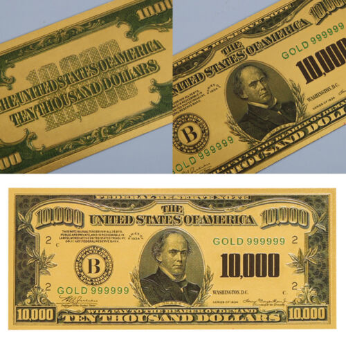 1Pc Gold Foil USA $10000 Paper Money US Dollars Banknotes Collections Gift