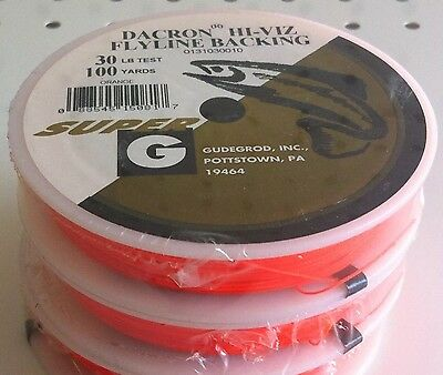 1 Gudebrod Hi-Viz Flyline Backing Dacron 30 Lb Orange 100 Yd Buy 2 /& Get 3