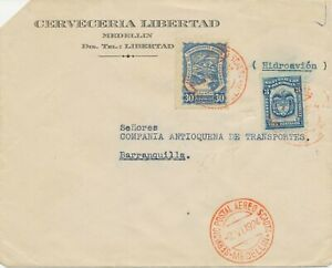 SCADTA-COLOMBIA-1924-30C-SCADTA-3C-coat-of-arms-Colombia-Airmail-cvr-MEDELLIN