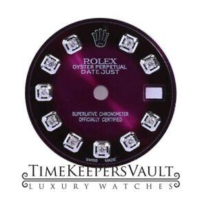Custom-Purple-Vignette-Diamond-Dial-To-Fit-Rolex-Lady-Datejust-26mm-Steel