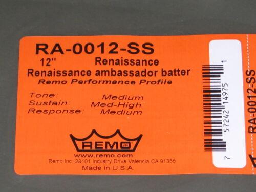 """Tom Tom Fell 12/"""" SONOR Classic REMO Renaissance Ambassador RA-0012-SS NEU"""