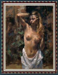 "Hand painted Oil painting original Art Portrait nude girl on canvas 24""x36"""