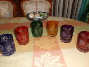 6 Romains-wisky-verres Cristal-taillé Dans Le Set En 6 Couleurs - 24% Pb-afficher Le Titre D'origine