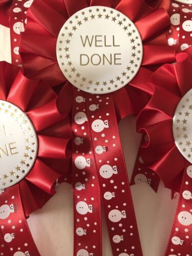 3 X Christmas Themed Well Done Rosettes