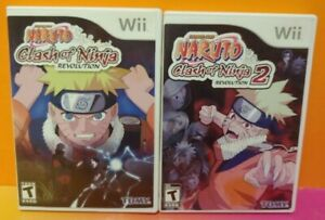 Naruto-Clash-of-Ninja-Revolution-1-2-Nintendo-Wii-2-Game-Lot-Tested-Working