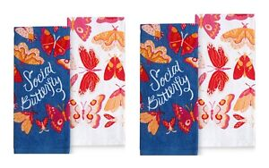 Celebrate Spring Together Kitchen Dish Towels SOCIAL BUTTERFLY 4-Piece Set NEW