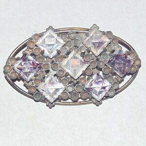 Vintage-circa-1930s-square-cut-glass-rhinestone-unusual-oval-pin-brooch