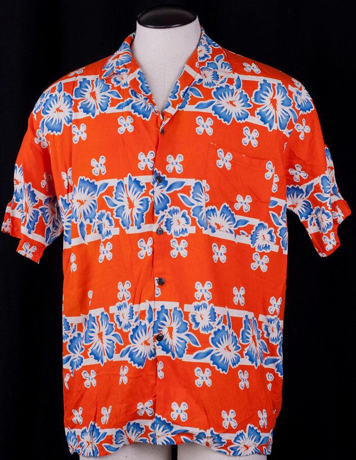 Tropical orange Hawaiian Shirt Tropicana Aim House Ocean Beach Mens VTG 1X