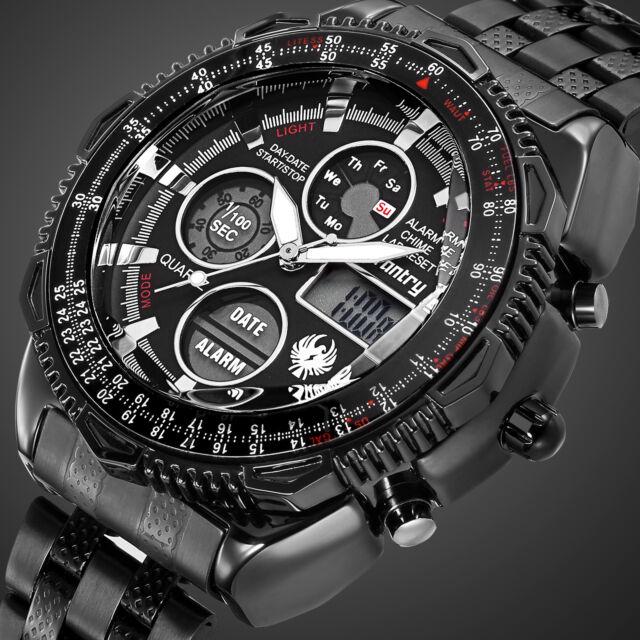 016 Infantry Aviator Analog Lcd Digital Mens Sport Wrist Watch Stainless Steel For Sale Online Ebay