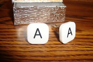 """Beige-Black /& Silver Tone Two Details about  //"""" T /"""" Monogram Letter Initial Cufflinks 1 Pair"""